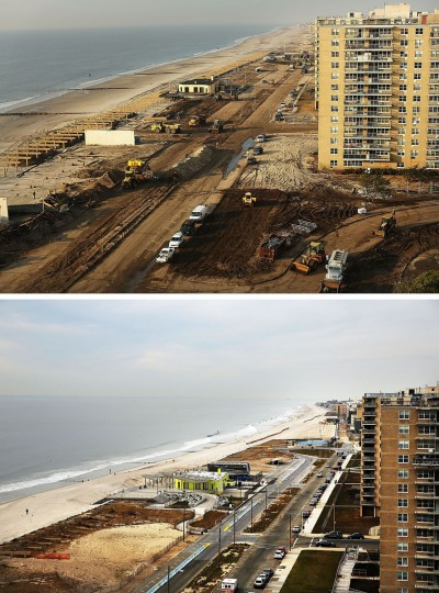 NEW YORK, NY - OCTOBER 22: (top) Clean-up continues among piles of debris where a large section of the iconic boardwalk was washed away on November 10, 2012 in the Rockaway neighborhood of the Queens borough of New York City. NEW YORK, NY - OCTOBER 22: (bottom) Cars sit parked on the street October 20, 2013, in the Rockaway neighborhood of the Queens borough of New York City. Hurricane Sandy made landfall on October 29 near Brigantine, New Jersey and affected 24 states from Florida to Maine and cost the country an estimated $65 billion. (Spencer Platt/Getty Images)