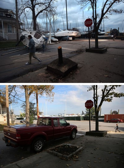 NEW YORK, NY - NOVEMBER 02: (top) Boats pushed up by Hurricane Sandy lie against residences near a marina on November 2, 2012 in the Staten Island borough of New York City. NEW YORK, NY - OCTOBER 17: (bottom) A truck sits parked near a marina on October 17, 2013 in the Staten Island borough of New York City. Hurricane Sandy made landfall on October 29, 2012 near Brigantine, New Jersey and affected 24 states from Florida to Maine and cost the country an estimated $65 billion. (John Moore/Getty Images)