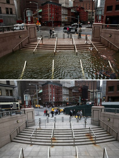 NEW YORK, NY - OCTOBER 30: (top) Water floods the Plaza Shops in the wake of Hurricane Sandy, on October 30, 2012 in New York City. (Allison Joyce/Getty Images) NEW YORK, NY - OCTOBER 22: (bottom) The entrance to the underground Plaza Shops remains closed due to unfinished renovations almost a hear after being flooded by Hurricane Sandy October 22, 2013 in New York City. Hurricane Sandy made landfall on October 29, 2012 near Brigantine, New Jersey and affected 24 states from Florida to Maine and cost the country an estimated $65 billion. (John Moore/Getty Images)