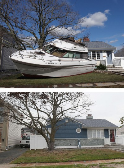 FREEPORT, NY - NOVEMBER 02: (top) In the aftermath of Hurricane Sandy, boats continue to litter the landscape on Grant Street on November 2, 2012 in Freeport, New York. FREEPORT, NY - OCTOBER 22: (bottom) A home that had sustained damage during Superstorm Sandy sits on Grant Street on October 22, 2013 in Freeport, New York. Hurricane Sandy made landfall on October 29, 2012 near Brigantine, New Jersey and affected 24 states from Florida to Maine and cost the country an estimated $65 billion. (Bruce Bennett/Getty Images)