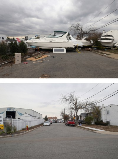 MERRICK, NY - NOVEMBER 01: (top) A boat from the Blue Water Club blocks Whaleneck Drive in the aftermath of Superstorm Sandy on November 1, 2012 in Merrick, New York. Superstorm Sandy, which has left millions without power or water, continues to effect business and daily life throughout much of the eastern seaboard. MERRICK, NY - OCTOBER 22: (bottom) Cars sit parked on Whaleneck Drive, which had been littered with boats after Superstorm Sandy on October 22, 2013 in Merrick, New York. Hurricane Sandy made landfall on October 29, 2012 near Brigantine, New Jersey and affected 24 states from Florida to Maine and cost the country an estimated $65 billion. (Bruce Bennett/Getty Images)