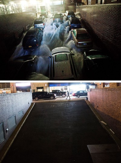 NEW YORK, NY - OCTOBER 29: (top) Rising water caused by Superstorm Sandy rushes into a parking garage on October 29, 2012 in New York City. NEW YORK, NY - OCTOBER 22: Traffic drives past the garage (which is in use again) October 22, 2013 in New York City. Hurricane Sandy made landfall on October 29, 2012 near Brigantine, New Jersey and affected 24 states from Florida to Maine and cost the country an estimated $65 billion. (Andrew Burton/Getty Images)