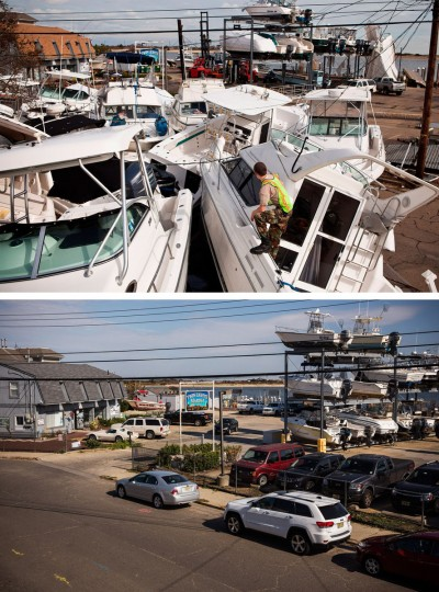 HIGHLANDS, NJ - NOVEMBER 1: (top) A volunteer surveys a pile of boats, which were moved by Superstorm Sandy, on November 1, 2012 in Highlands, New Jersey. HIGHLANDS, NJ - OCTOBER 22: (bottom) Boats are stored at a marina in Highlands, New Jersey October 22, 2013. Hurricane Sandy made landfall on October 29, 2012 near Brigantine, New Jersey and affected 24 states from Florida to Maine and cost the country an estimated $65 billion. (Andrew Burton/Getty Images)