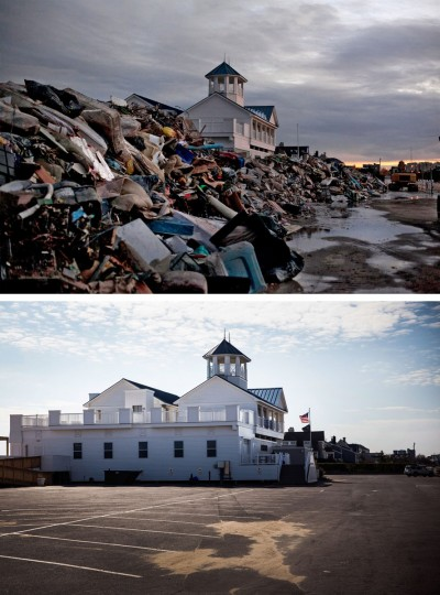 MONMOUTH, NJ - NOVEMBER 8: (top) The Monmouth Beach pavilion is surrounded by debris caused by Superstorm Sandy on November 8, 2012 in Monmouth, New Jersey. (Allison Joyce/Getty Images) MONMOUTH, NJ - OCTOBER 22: (bottom) The Monmouth Beach pavilion is shown October 22, 2013 in Monmouth, New Jersey. Hurricane Sandy made landfall on October 29, 2012 near Brigantine, New Jersey and affected 24 states from Florida to Maine and cost the country an estimated $65 billion. (Andrew Burton/Getty Images)