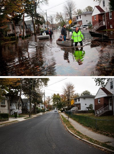 LITTLE FERRY, NJ - OCTOBER 30: (top) An emergency responder helps evacuate two people with a boat, after their neighborhood experienced flooding due to Superstorm Sandy October 30, 2012 in Little Ferry, New Jersey. LITTLE FERRY, NJ - OCTOBER 22: (bottom) The same street is shown in Little Ferry, New Jersey October 22, 2013. Hurricane Sandy made landfall on October 29, 2012 near Brigantine, New Jersey and affected 24 states from Florida to Maine and cost the country an estimated $65 billion. (Andrew Burton/Getty Images)