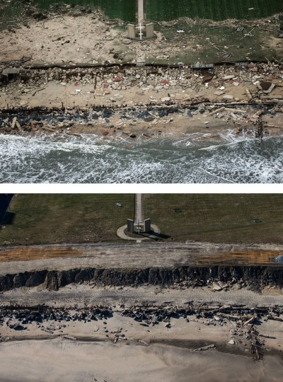 LONG BRANCH, NJ - OCTOBER 31: (top) A church cross stands amid wreckage from Superstorm Sandy at the edge of the Atlantic Ocean on October 31, 2012 in Long Branch, New Jersey. (Mario Tama/Getty Images) LONG BRANCH, NJ - OCTOBER 21: (bottom) The cross is shown October 21, 2013 in Long Branch, New Jersey. Hurricane Sandy made landfall on October 29, 2012 near Brigantine, New Jersey and affected 24 states from Florida to Maine and cost the country an estimated $65 billion. (Andrew Burton/Getty Images)