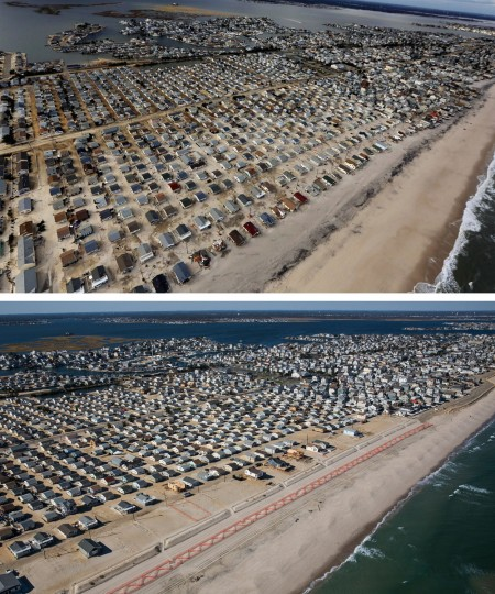 SEASIDE HEIGHTS, NJ - OCTOBER 31: (top) Homes are shown surrounded by sand and debris in Seaside Heights, New Jersey October 31, 2012. (Photo by Mario Tama/Getty Images) SEASIDE HEIGHTS, NJ - OCTOBER 21: (bottom) Homes are shown in Seaside Heights, New Jersey are shown October 21, 2013. Hurricane Sandy made landfall on October 29, 2012 near Brigantine, New Jersey and affected 24 states from Florida to Maine and cost the country an estimated $65 billion. (Photo by Andrew Burton/Getty Images)