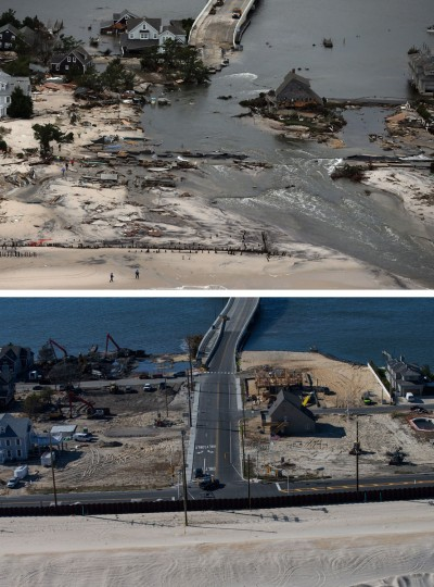 MANTOLOKING, NJ - OCTOBER 31: (top) Homes built near a bridge sit destroyed due to Superstorm Sandy in Mantoloking, New Jersey October 31, 2012. (Mario Tama/Getty Images) MANTOLOKING, NJ - OCTOBER 21: (bottom) Mantoloking, New Jersey is shown in this aerial view October 21, 2013. Hurricane Sandy made landfall on October 29, 2012 near Brigantine, New Jersey and affected 24 states from Florida to Maine and cost the country an estimated $65 billion. (Andrew Burton/Getty Images)