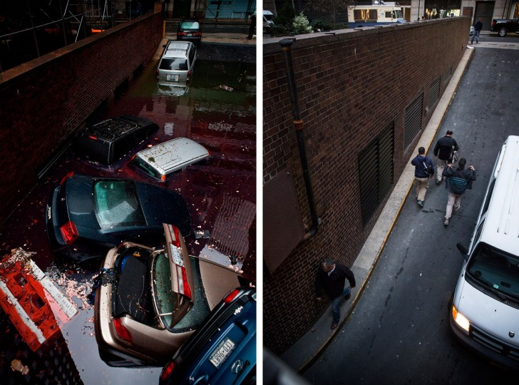 NEW YORK, NY - OCTOBER 30: (left) Destroyed cars float in a flooded car garage due to Superstorm Sandy October 30, 2012 in New York City. NEW YORK, NY - OCTOBER 22: (bottom) People walk in and out of the garage on October 22, 2013 in New York, City. Hurricane Sandy made landfall on October 29, 2012 near Brigantine, New Jersey and affected 24 states from Florida to Maine and cost the country an estimated $65 billion. (Andrew Burton/Getty Images)