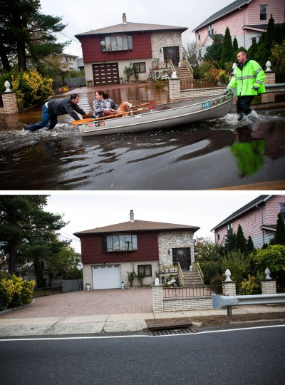 LITTLE FERRY, NJ - OCTOBER 30: (top) An emergency responder helps evacuate two people with a boat, after their neighborhood experienced flooding due to Superstorm Sandy October 30, 2012 in Little Ferry, New Jersey. LITTLE FERRY, NJ - OCTOBER 23: (bottom) The same home in Little Ferry, NJ is shown October 22, 2013. (Andrew Burton/Getty Images)