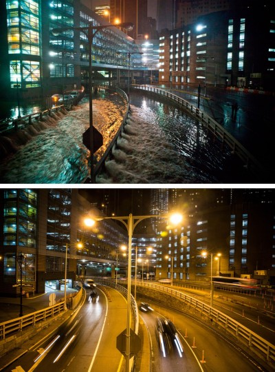 NEW YORK, NY - OCTOBER 29: (top) Rising water caused by Superstorm Sandy rushes into the Carey Tunnel (previously known as the Brooklyn Battery Tunnel) October 29, 2012 in New York City. NEW YORK, NY - OCTOBER 22: (bottom) Cars use the Carey Tunnel October 22, 2013 in New York City. Hurricane Sandy made landfall on October 29, 2012 near Brigantine, New Jersey and affected 24 states from Florida to Maine and cost the country an estimated $65 billion. (Andrew Burton/Getty Images)