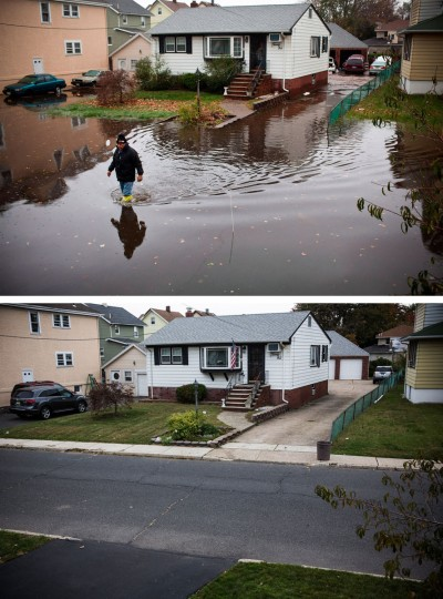 LITTLE FERRY, NJ - OCTOBER 30: (top) A man walks through a flooded street after Superstorm Sandy, on October 30, 2012, in Little Ferry, New Jersey. LITTLE FERRY, NJ - OCTOBER 22: (bottom) The same house is shown in Little Ferry, New Jersey October 22, 2013. Hurricane Sandy made landfall on October 29, 2012 near Brigantine, New Jersey and affected 24 states from Florida to Maine and cost the country an estimated $65 billion. (Andrew Burton/Getty Images)