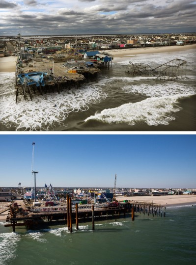 (top) The boardwalk and amusement park in Seaside Heights, New Jersey is shown destroyed by Superstorm Sandy on October 31, 2012. (Mario Tama/Getty Images)(bottom) The boardwalk and amusement park in Seaside Heights, New Jersey is shown October 21, 2013. Hurricane Sandy made landfall on October 29, 2012 near Brigantine, New Jersey and affected 24 states from Florida to Maine and cost the country an estimated $65 billion. (Andrew Burton/Getty Images)
