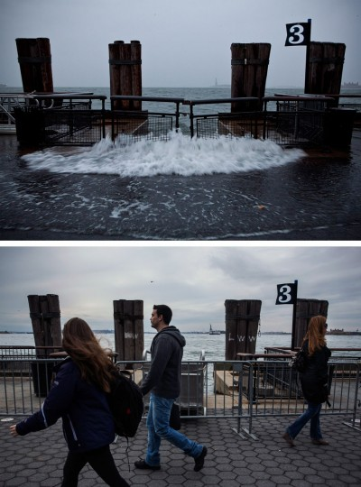 (top) Rising water caused by Superstorm Sandy rushes onto the pathway at Battery Park on October 29, 2012 in New York City. (bottom) Tourists walk along the pathway in Battery Park October 23, 2013 in New York City. Hurricane Sandy made landfall on October 29, 2012 near Brigantine, New Jersey and affected 24 states from Florida to Maine and cost the country an estimated $65 billion. (Andrew Burton/Getty Images)