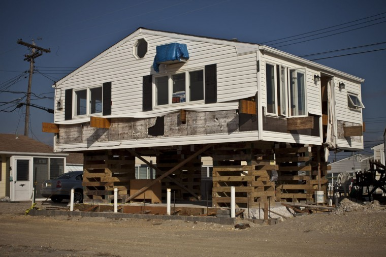 A house remains under construction one year after being partially destroyed by Superstorm Sandy, October 29, 2013 in Dover Beach North, New Jersey. Hurricane Sandy made landfall last year on October 29th near Brigantine, New Jersey and affected 24 states from Florida to Maine and cost the country an estimated $65 billion.(Kena Betancur/Getty Images)