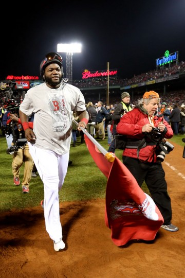 David Ortiz of the Boston Red Sox celebrates after defeating the St. Louis Cardinals 6-1 in Game Six of the 2013 World Series at Fenway Park. (Rob Carr/Getty Images)
