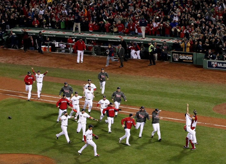 The Boston Red Sox celebrate after defeating the St. Louis Cardinals in Game Six of the 2013 World Series at Fenway Park. (Alex Trautwig/Getty Images)