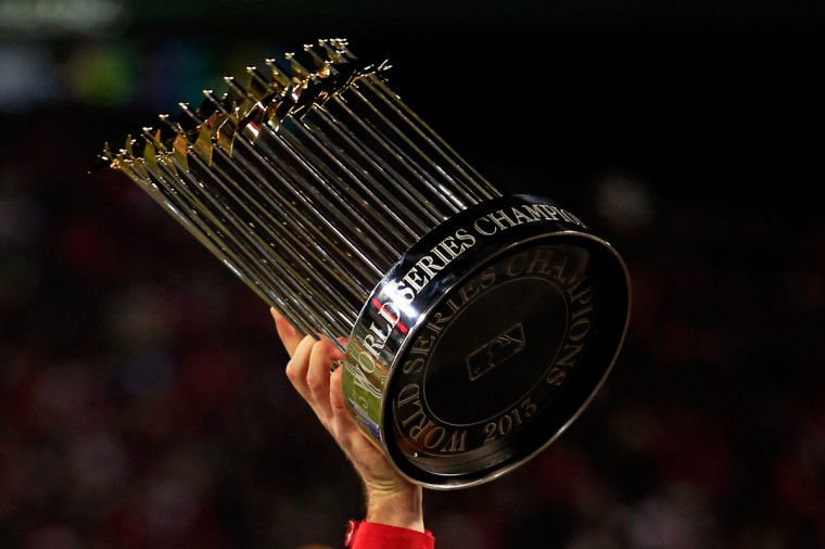 The World Series trophy is seen following Game Six at Fenway Park. (Jamie Squire/Getty Images)