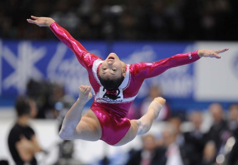 Kyli Ross of the US performs on the floor during women's final at the 44th Artistic Gymnastics World Championships in Antwerp on October 6, 2013. (John Thys/AFP)
