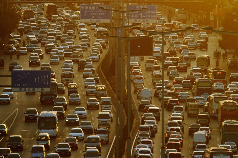 A general view shows traffic during rush-hour in Tianjin. The eastern Chinese city is hosting the East Asian Games. (Ed Jones / AFP/Getty Images)
