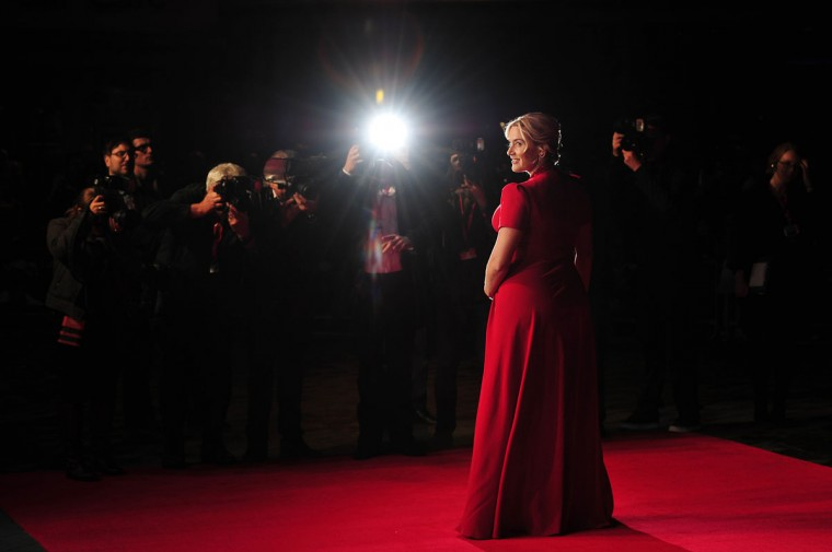 British actress Kate Winslet poses for pictured at the gala premiere of the film 'Labour Day' in London's Leicester Square. (CARL COURT / AFP/Getty Images)