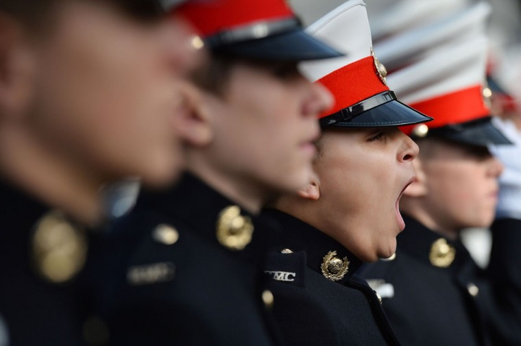 A Royal Marine Cadet yawns as he takes part in a parade in London's Trafalgar Square. (BEN STANSALL / AFP/Getty Images)