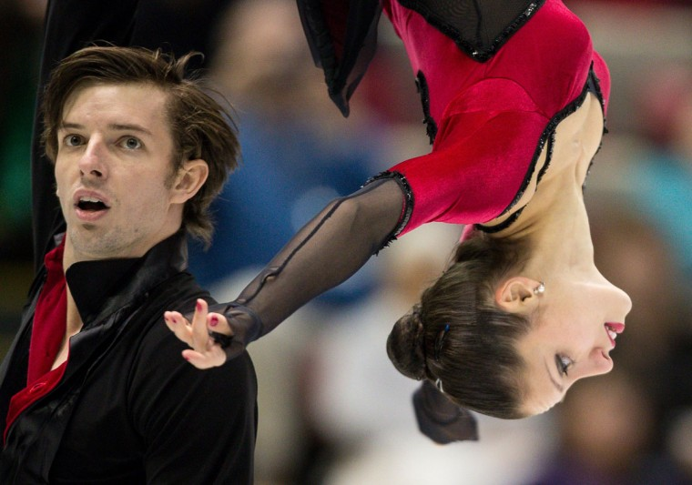 Stefania Berton and Ondrej Hotarek of Italy perform their free skate at Skate America 2013 in Detroit. (GEOFF ROBINS / AFP/Getty Images)