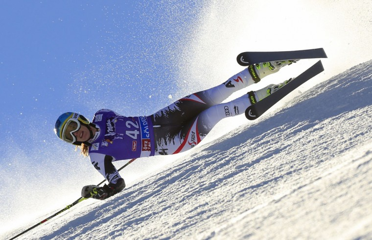 Austria's Carmen Thalmann competes during the first run of the women's giant slalom at the FIS Ski World Cup. (ALEXANDER KLEIN / AFP/Getty Images)
