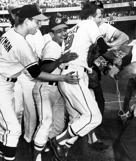 Teammates swarm winning pitcher Dave McNally, after he blanked the Los Angeles Dodgers, 1-0, on Oct. 9, 1966 at Memorial Stadium, completing the Orioles' four-game sweep in the World Series. (Ellis Malashuk/Baltimore Sun)
