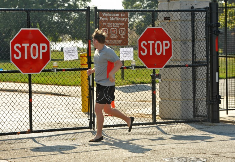 Runner Daniel Wik, of Federal Hill, usually includes Fort McHenry in his route once a week, but not today. Fort McHenry was closed today due to the government shutdown. (Amy Davis/Baltimore Sun)