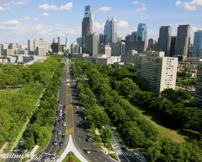 A view of the Ben Franklin Parkway in Philadelphia. (Photo courtesy of Elevated Element)