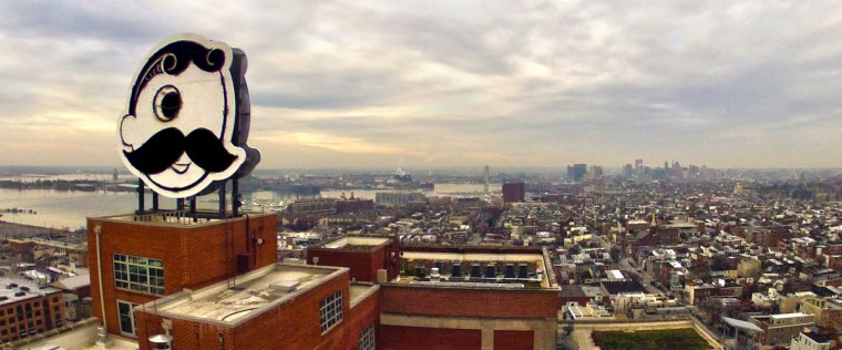 Hello, Mr. Boh! This popular shot of Baltimore and the Natty Boh sign from Brewers Hill was taken with a GoPro. (Photo courtesy of Elevated Element)