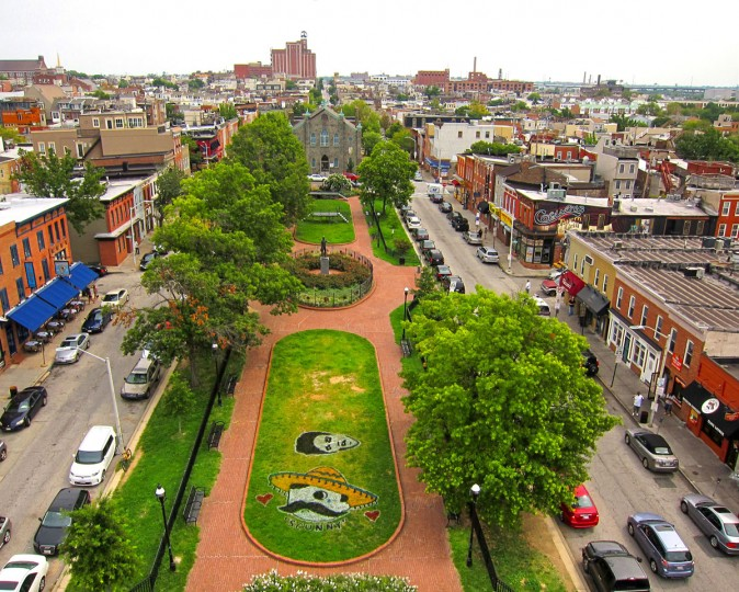 """A view of Canton Square shows a tribute to the late Patrick """"Scunny"""" McCusker. (Photo courtesy of Elevated Element)"""