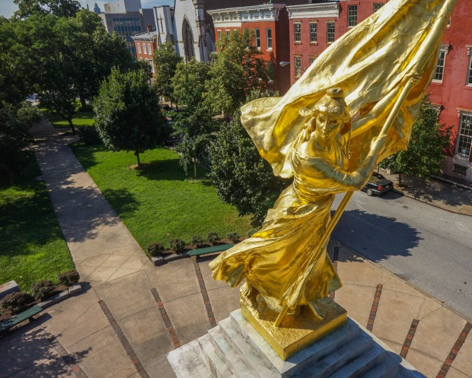 A close-up view of the Francis Scott Key Memorial Monument in Bolton Hill. Since 2010, the Kilbys have photographed the monument many times, using it to refine their drone photography techniques and workflow. This image graces the cover of Drone Art: Baltimore, the Kilby's new book. (Photo courtesy of Elevated Element/2013)