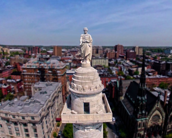 Eye to eye with George Washington at 178 feet at Baltimore's Washington Monument in Mount Vernon (Photo courtesy of Elevated Element)