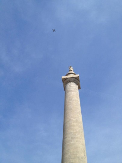 The Kilbys had to wait nearly a year for the technology to catch up with their vision, before they were able to photograph Baltimore's Washington Monument with a UAV. (Photo courtesy of Elevated Element)