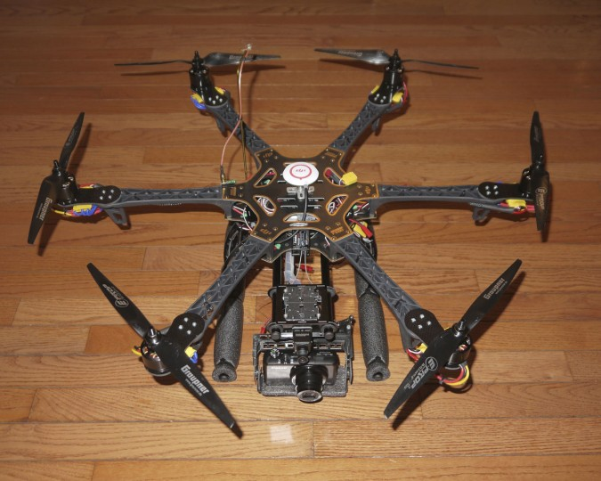 This hexacopter, which the Kilbys used extensively in 2012, has six, twelve-inch propellers and a Canon S90 mounted on it. The Kilbys have designed and built all the multicopters they've used in their work. (Photo courtesy of Elevated Element)