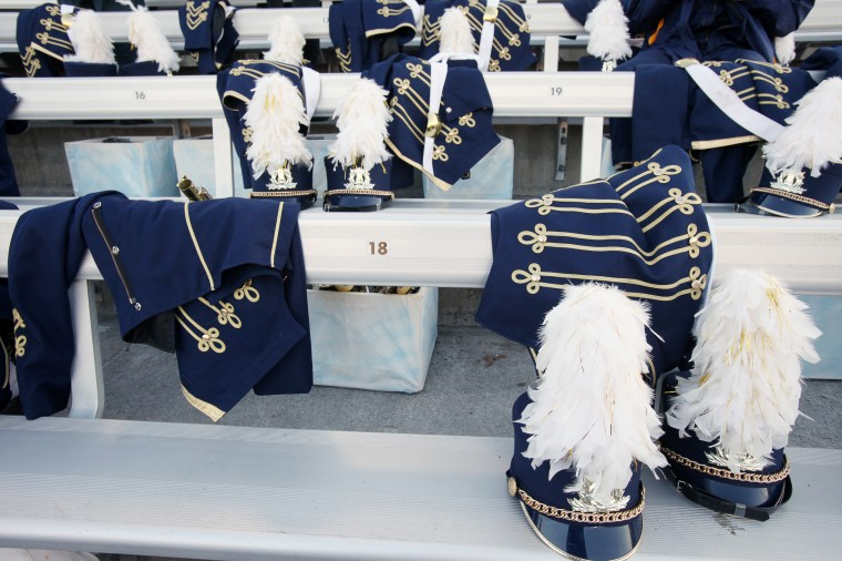 Perry Hall High School Marching Band uniforms ready before the start. (Jen Rynda/BSMG)