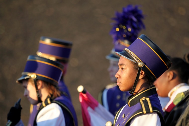 Loch Raven High School Marching Band's Ayja Weems, 15, waits on deck before their performance. (Jen Rynda/BSMG)