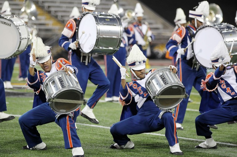 The Morgan State University Magnificent Marching Machine performs a special exhibition performance. (Jen Rynda/BSMG)