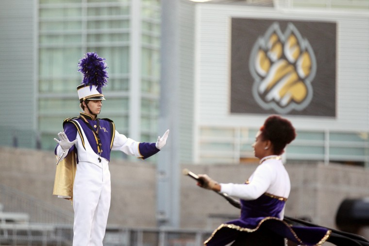 Loch Raven High School Marching Band Drum Major Alex Yeager, 17, leads the performance. (Jen Rynda/BSMG)