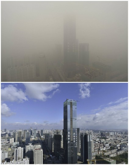 A combination picture shows the 75-story landmark skyscraper of Shenyang in Liaoning province, taken on Oct. 11, 2013 (bottom) and Oct. 21, 2013. (Reuters photo)