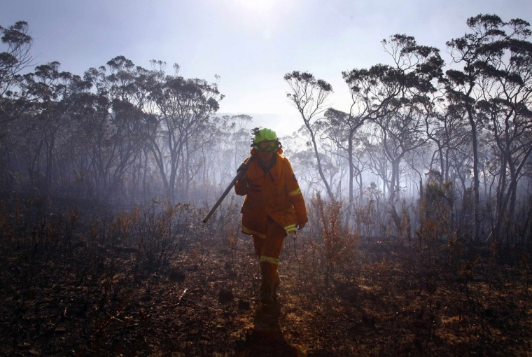A female Rural Fire Service (RFS) firefighter walks through a burnt area after trying to extinguish a small fire approaching homes near the Blue Mountains suburb of Blackheath, located around 43 miles west of Sydney, October 23, 2013. A state of emergency has been declared in the Australian state of New South Wales, as bushfires continue to burn west of Sydney, and weather conditions expected to worsen over the coming days. Around 60 fires are still burning across the state. (David Gray/Reuters)
