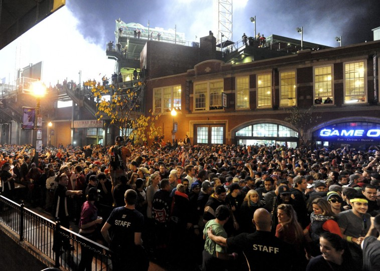 Fans gather after the Boston Red Sox won the World Series. (Tory Germann/Reuters)