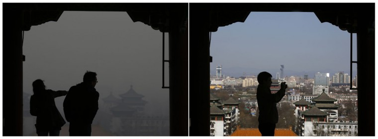 A combination picture shows Beijing's hazy sky (left) on February 24, 2014 and clear sky on February 27, 2014, from the top of Jingshan Park near the Forbidden City. (REUTERS/Kim Kyung-Hoon)