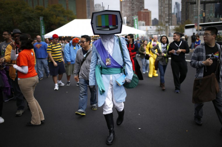 A costumed fan arrives at New York's Comic-Con convention. (Mike Segar/Reuters)