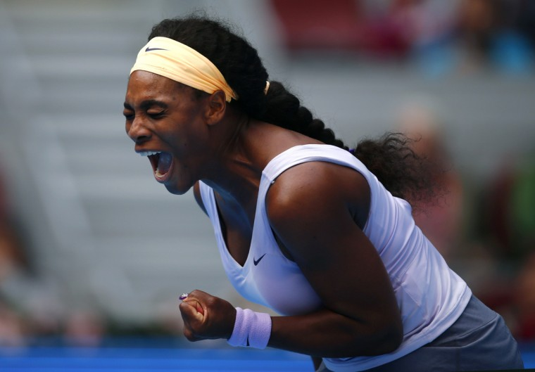 Serena Williams of the U.S. reacts after winning a point during her women's singles match against Maria Kirilenko of Russia at the China Open tennis tournament in Beijing. (Petar Kujundzic/Reuters photo)