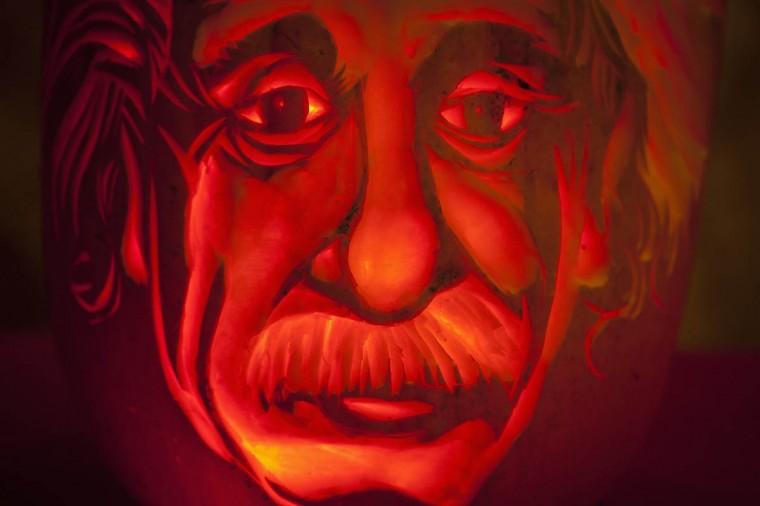 An Albert Einstein pumpkin is pictured at Madame Tussauds in New York, October 22, 2013. (Carlo Allegri/Reuters photo)