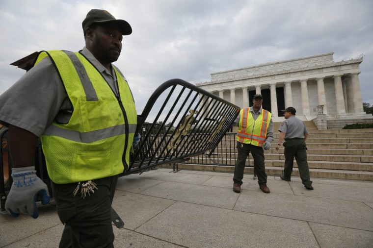 The Lincoln Memorial is sealed off from visitors in Washington, October 1, 2013. The U.S. government began a partial shutdown on Tuesday for the first time in 17 years, potentially putting up to 1 million workers on unpaid leave, closing national parks and stalling medical research projects. (Jason Reed/Reuters photo)
