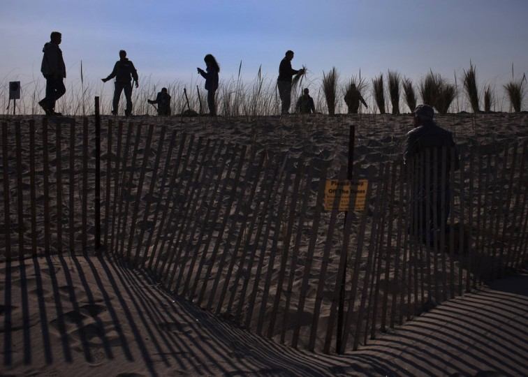Residents and volunteers plant sea grass atop of a dune built to protect the remote Breezy Point, Queens beach community on the one-year anniversary of Hurricane Sandy in New York October 29, 2013. Hurricane Sandy, also known as Superstorm Sandy, left more then 100 people dead and caused tens of billions of dollars in damage. (Adrees Latif/Reuters)